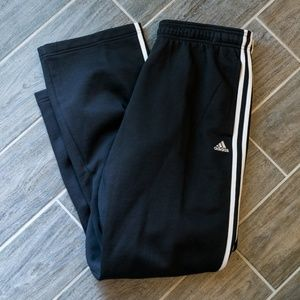 Black Adidas Three Stripe Sweatpants Mens Size L